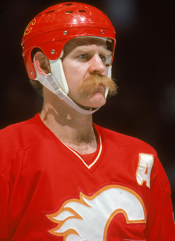 Calgary Flames Lanny McDonald  had a massive orange mustache in the 1980s, which matched the color of his jersey.