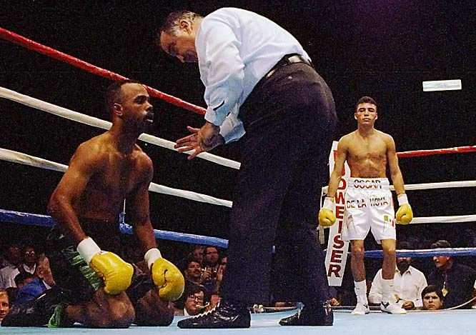 """I feel like I waited for this moment all my life,"" said De La Hoya shortly after making his pro debut at the Great Western Forum in Los Angeles. ""I tried to make it last."" If so, he failed, dispatching the hapless Williams with a left hook to the liver, just 1:42 into the first round.<br><br>Visit SI.com for a live round-by-round of De La Hoya-Mayweather on Saturday."