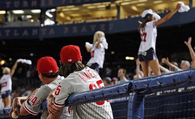 Phillies pitchers Freddy Garica (left) and Cole Hamels check out the Turner Field scenery.