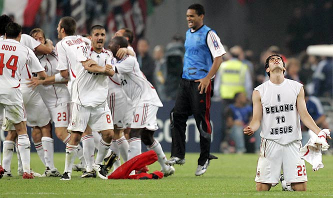 AC Milan's Kaka doesn't need to celebrate with his teammates when he belongs to Jesus.