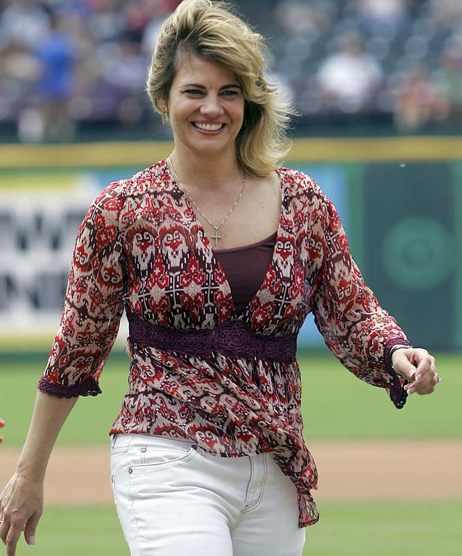 You take the good, you take the bad and there you have Blair Warner throwing out the first pitch before Wednesday's Twins-Rangers game.