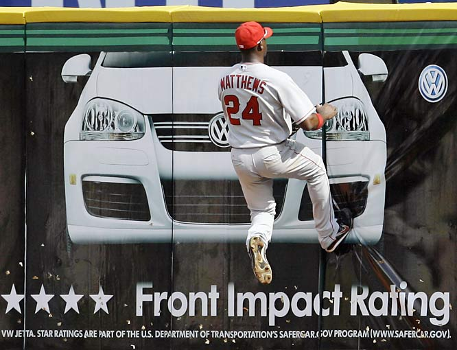 Angels center fielder Gary Matthews Jr. couldn't track down a solo homer by Texas' Brad Wilkerson, but he did substantiate the Jetta's high safety ratings.