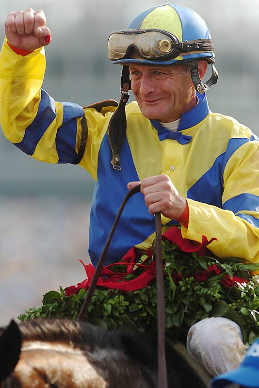 Street Sense jockey Calvin Borel celebrates after winning the 133rd running of the Kentucky Derby