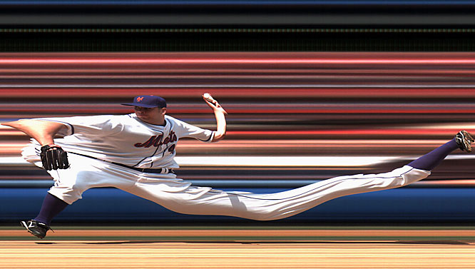 Oliver Pérez struck out 10, allowing one earned run and three hits in 5 2/3 innings as the Mets beat the Marlins 6-3 on May 2. The distortion is caused by a scan camera most often used for photo-finish shots at horse races.