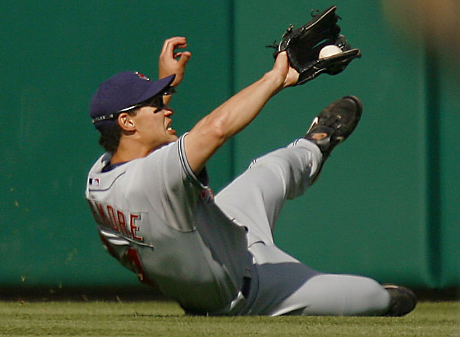 Indians centerfielder Grady Sizemore makes a sliding catch during an 8-2 loss to the Orioles on Saturday.