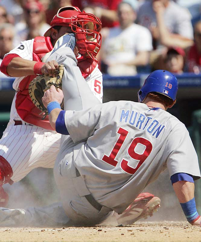 The Cubs' Matt Murton fails to score against the Phillies Carlos Ruis in the Cubs 4-1 victory.