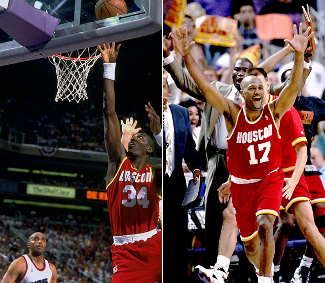 Defending champion Houston had to overcome a 2-1 deficit in its best-of-five first-round series with Utah just to set up a matchup with Phoenix. The Rockets then fell behind Charles Barkley & Co. 3-1 before two 30-point games from Hakeem Olajuwon helped Houston get even. The Rockets went on to win Game 7 thanks to a tiebreaking three-pointer from Mario Elie (right) in the closing seconds. This marked the second consecutive season that Houston erased a 2-0 second-round deficit against the Suns on its way to winning the title.