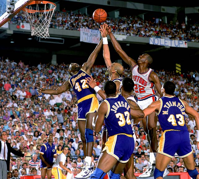 The comeback itself wasn't that big, as the Lakers were down just 3-2 before winning Games 6 and 7 at home to secure their third title in four seasons. But those two games provided compelling theater. First, in Game 6, Isiah Thomas scoring 25 third-quarter points on a sprained ankle, but the Lakers overtook the Pistons in the final minute and won 103-102. In Game 7, with the injury limiting Thomas, the Lakers staved off the Pistons' late rally behind James Worthy, who finished with 36 points, 16 rebounds and 10 assists.