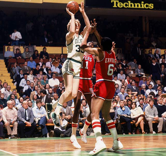 This classic produced five games decided by two points or fewer, including the Celtics' three consecutive victories after they fell behind 3-1. Larry Bird, in his second season, hit a last-minute bank shot that proved to be the game-winner in Boston's 91-90 win in Game 7. The Celtics went on to beat Houston in the NBA Finals as Bird won the first of his three championships.