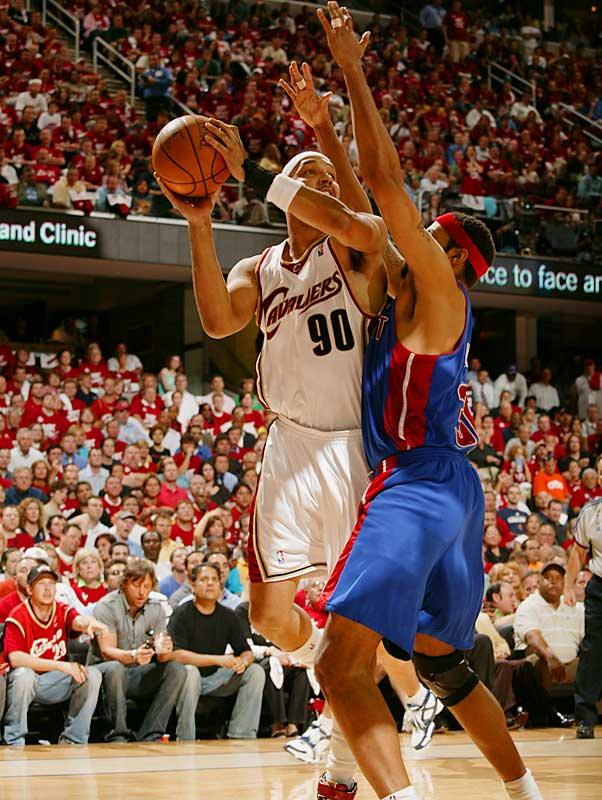 Drew Gooden scored 19 points, and had eight rebounds, a steal and a blocked shot. After tangling with Detroit's Rasheed Wallace, Gooden drew a technical foul with 8:08 remaining in the fourth quarter, which led to a 16-4 explosion by the Cavs to put them up eight with just over three minutes to play.