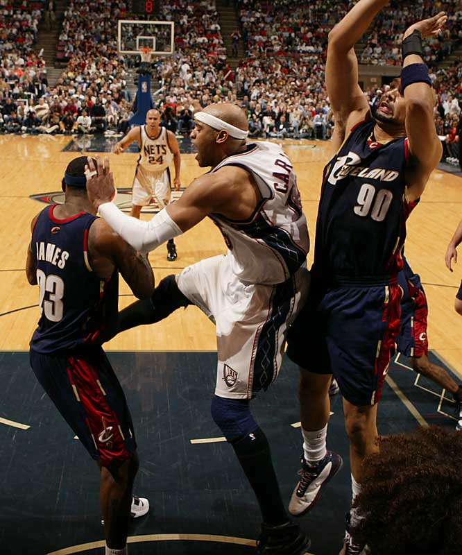 Vince Carter was looking for a shot, but lost the ball in the final seconds.