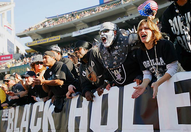 "Sections 104 through 107 at the Raiders' home field is one of the scariest places in the NFL. The ""Black Hole"" features the craziest members of Raider Nation, a group of fans who remain rabid even when the team is down."