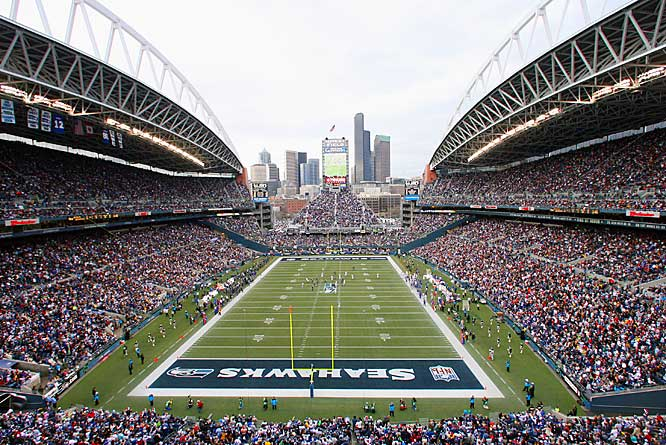 Lots of stadiums have open end zones, but the Seahawks have the most distinctive look with seats in front of a beautiful vista.