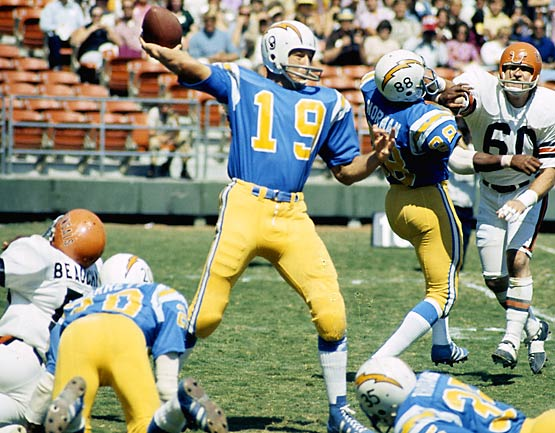 Unitas was dealt from Baltimore to San Diego in '73. The image of Johnny U in any uniform other than the Colts' classic blue ones just doesn't work.