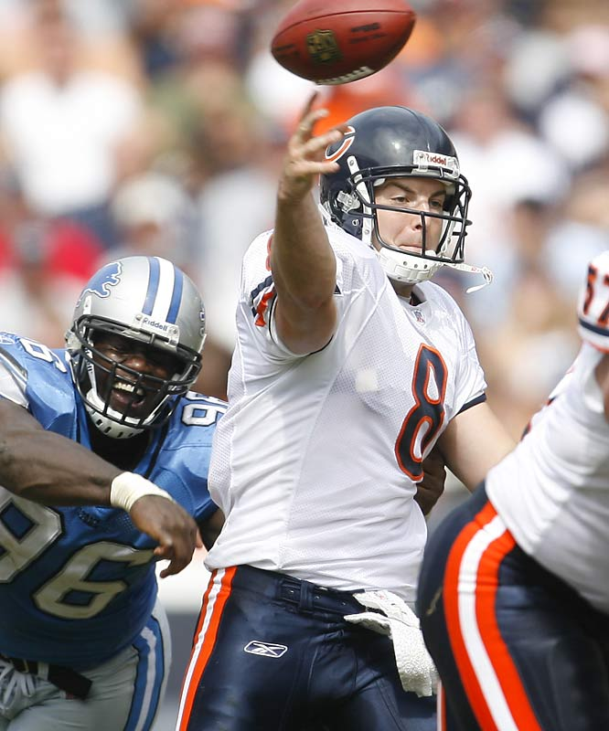 Rex Grossman was either really good or really bad last season. Unfortunately for the Bears, he was really bad at the wrong time in their Super Bowl loss to the Colts. Chicago may not be able to live with Grossman's turnovers throughout the season and could turn to veteran Brian Griese.