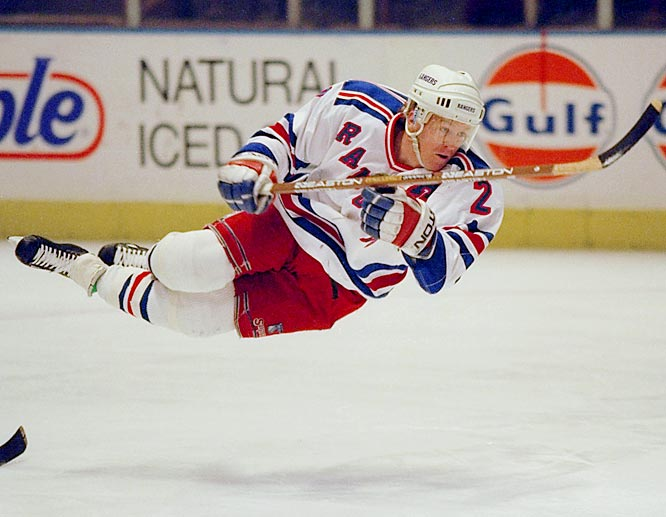 The Rangers' first-round pick (ninth overall) in 1986, the Texan blueliner by way of Boston College soared to stardom in his first full NHL season, scoring 23 goals and 71 points to win the 1988-89 Calder Trophy as Rookie of the Year.