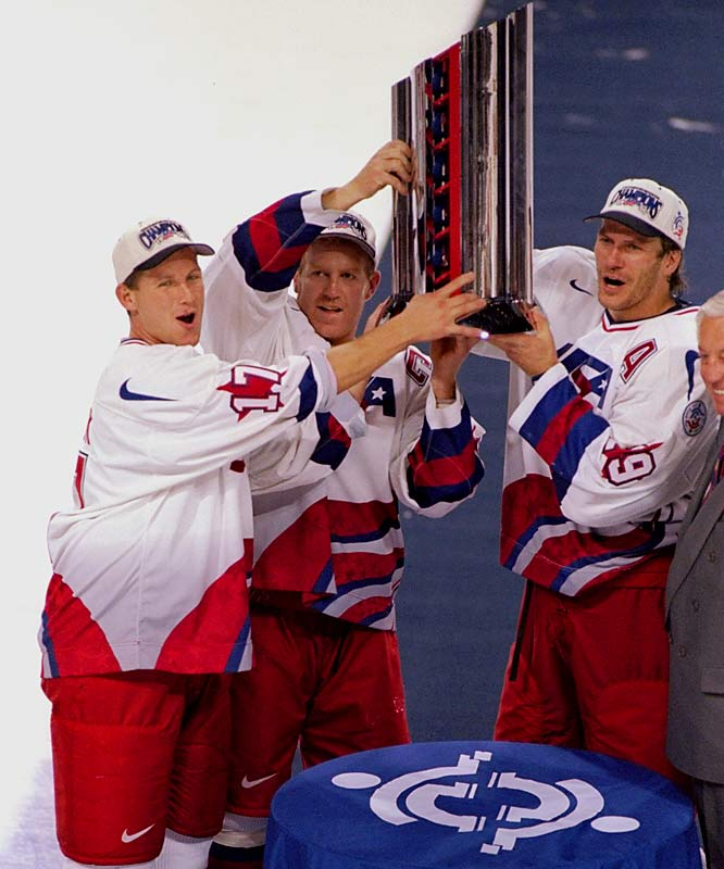 A proud product of USA Hockey, Leetch skated in the 1988 Winter Olympics before joining the Rangers and later played in the 1998 and 2002 Games. Here, he poses with teammates Keith Tkachuk (left) and Joel Otto after winning the 1996 World Cup final against Canada.
