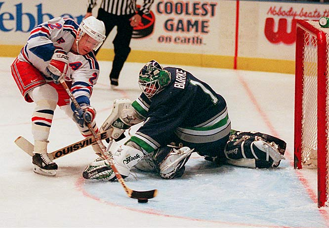 Leetch overcame a slow start in 1996-97 to score 20 goals and 78 points, finishing with a  31 mark.