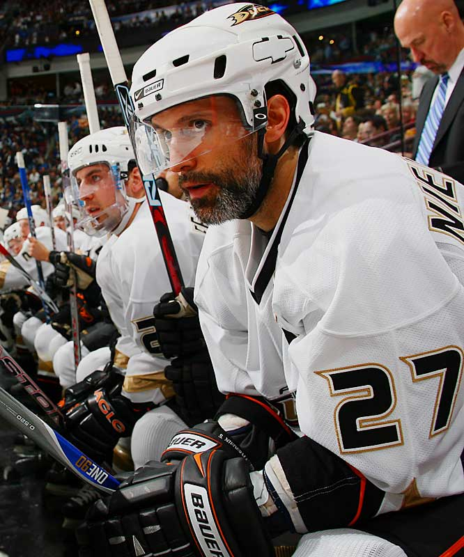 Anaheim's Scott Niedermayer is the definition of a greybeard. He's playing in the 13th postseason of his NHL career.