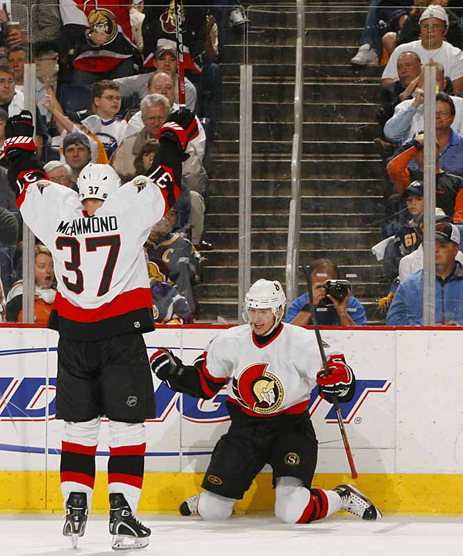 With the game tied 2-2, Oleg Saprykin scored the go-ahead goal for the Senators, tipping in Dean McAmmond's centering pass 7:41 into the third period.