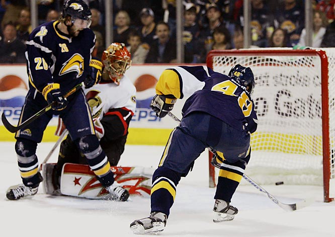 Sabres co-captain Daniel Briere scored with 5.8 seconds left in regulation to force overtime.