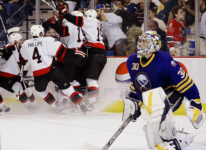 Senators' captain Daniel Alfredsson scored on Sabres' goalie Ryan Miller at 9:32 of overtime, sending Ottawa to the Stanley Cup finals for the first time in the franchise's 14-year existence.  The only one to have played in Ottawa's 94 playoff games over 10 consecutive years, Alfredsson leads the league with 10 goals in the playoffs after scoring the biggest goal in his team's history.