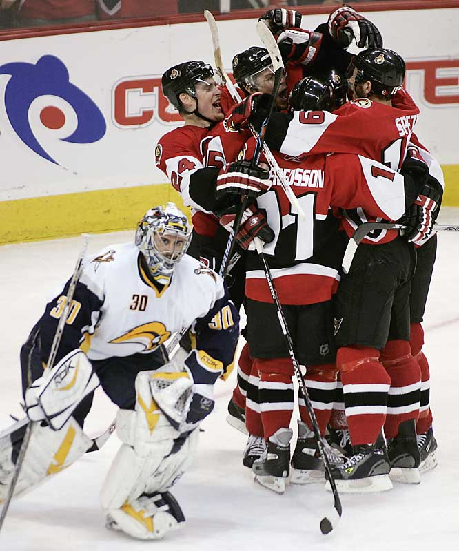 Though he played well, stopping 31 of 32 shots, Ryan Miller skated away empty-handed after the Sabres' 1-0 Game 3 loss to the Senators.