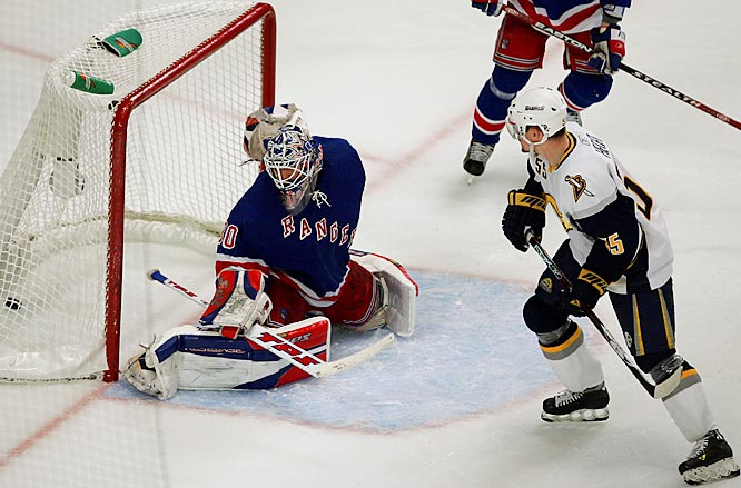 Jochen Hecht redirected a shot by Sabres' teammate Daniel Briere, not pictured, in the third period to score his second goal of the game past Henrik Lundqvist.  Buffalo won the series 4-2 and will next play the division rival Senators, whom they eliminated in last year's playoffs.