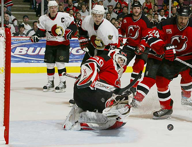 Dany Heatley (15) and the Senators lit up Martin Brodeur for five goals on 26 shots to win the first game in their series with the Devils.