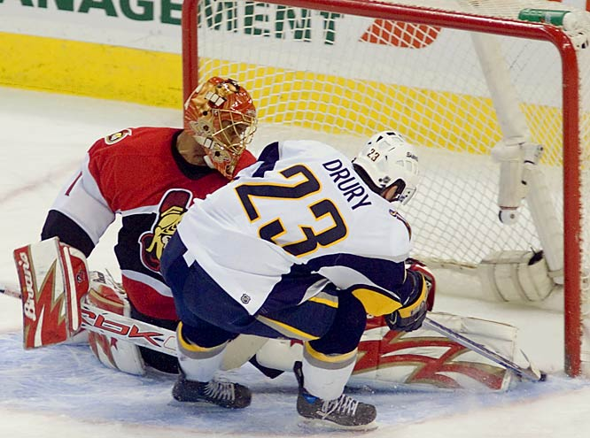 Chris Drury and the Sabres lost their first road game of the season after starting with an NHL record 10-0 away mark. Ray Emery made 23 saves for the Senators.
