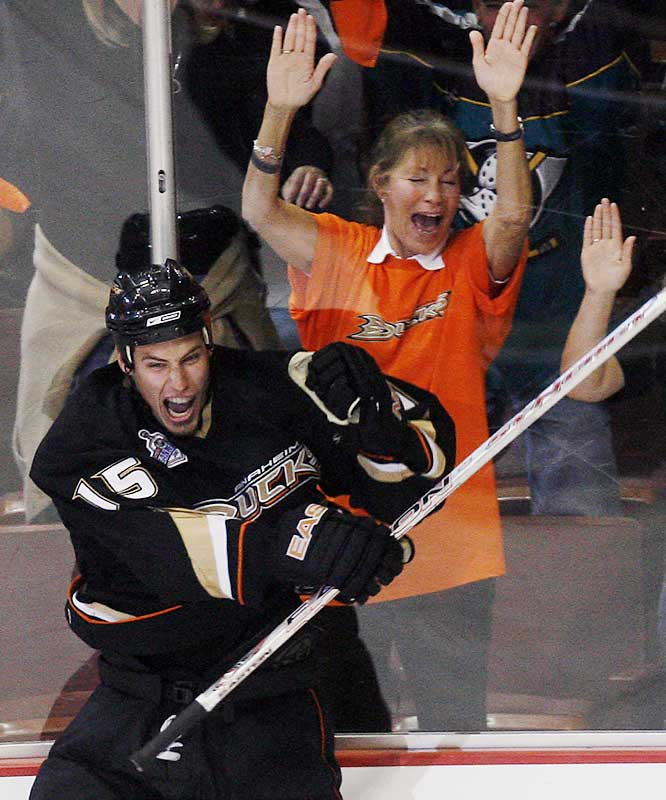 Ducks center Ryan Getzlaf celebrates after netting the tying goal early in the third period. Anaheim is 13-0 in the playoffs when scoring at least twice.