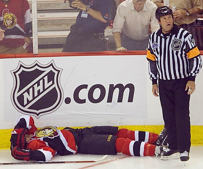 Senators' left wing Dean McAmmond briefly lost consciousness in the third period after taking a forearm to the head from Chris Pronger.  McAmmond fell backward, struck his head on the ice, and slid into the corner. Pronger wasn't penalized on the ice but received a one-game suspension, his second of the playoffs. McAmmond is questionable for Game 4.