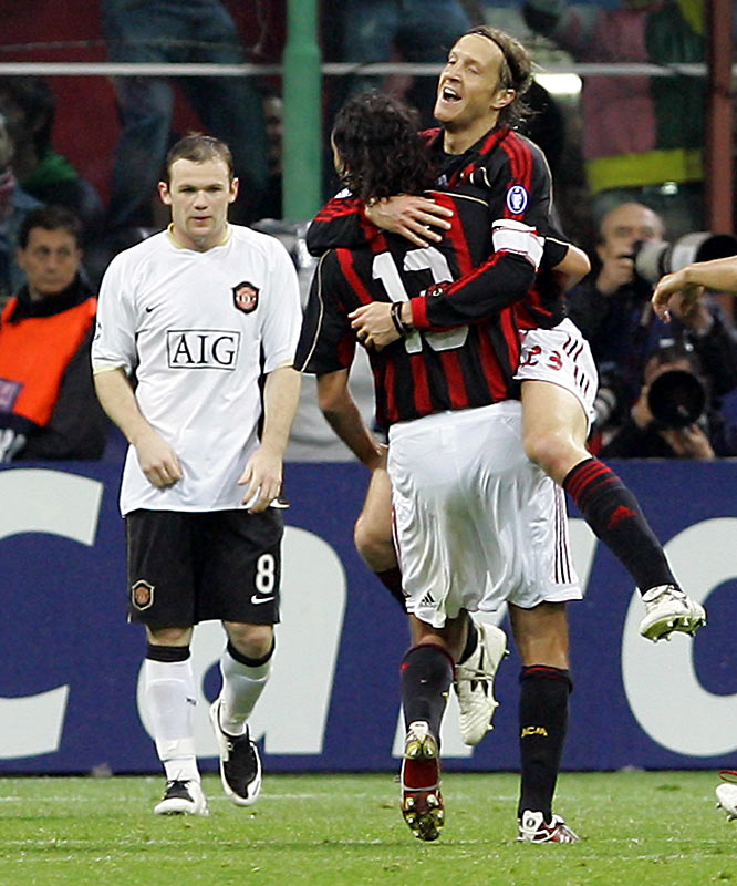 Milan saved its most masterful performance for when it needed it most: the second leg of the semifinals against might Manchester United. Any hopes of an all-English final were immediately silenced as Kaká, Clarence Seedorf and Alberto Gilardino all scored in a soggy 3-0 whitewash of Wayne Rooney (left) and favored United. The victory put Milan into its 10th Champions League final and set up the rematch with Liverpool.