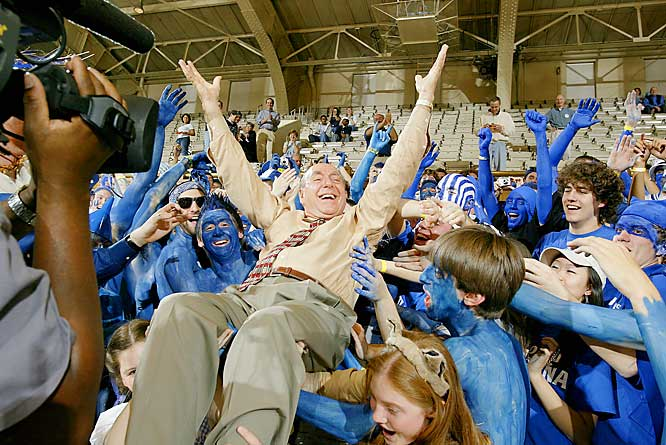 Everyone's favorite Duke fan -- Dick Vitale -- enjoys some time with the student body.