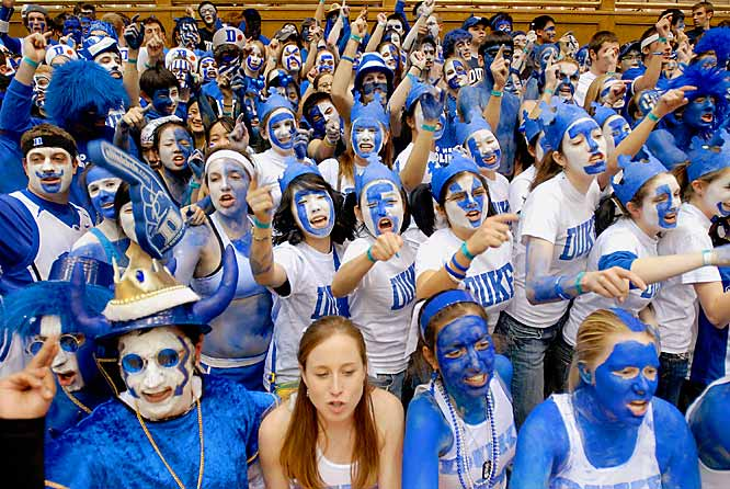 As this photo demonstrates, nobody can accuse Duke fans of being shy with the body paint.
