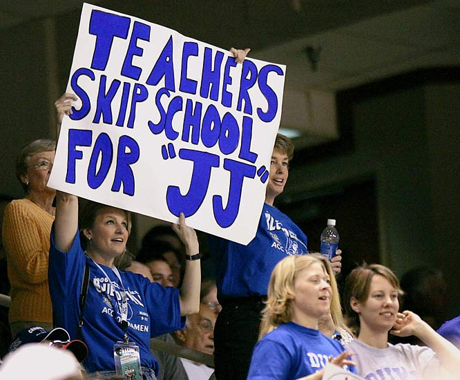 During J.J. Redick's four years in Durham, he was quite popular with the ladies -- even the middle-aged teacher crowd.