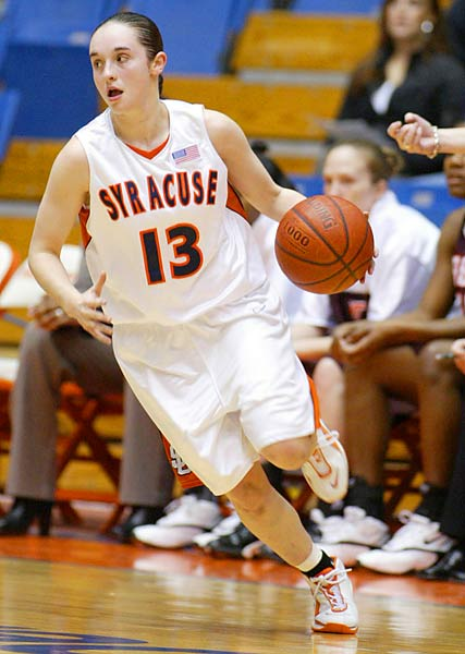 McBride is Syracuse's all-time leader in scoring (1,605), scoring average (14.2), three-point field goals made (229), assists (574) and assist average (5.1). She was the first woman in SU history to record over 1,600 career points and 500 career assists.