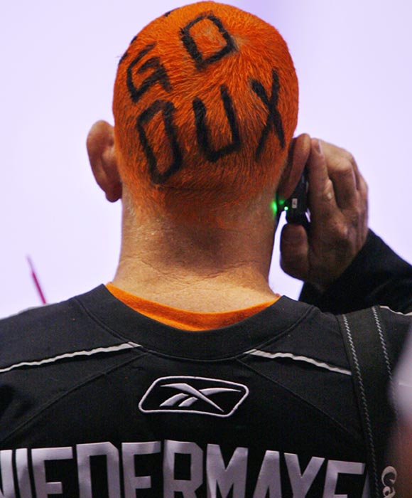 This fan wasn't going to be stopped from showing his support for the Dux.