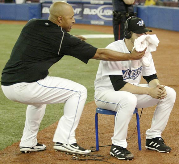 The Blue Jays'  Vernon Wells pulls off the pie-in-the-face trick on teammate Dustin McGowan after the pitcher shut down the Yankees earlier this week.