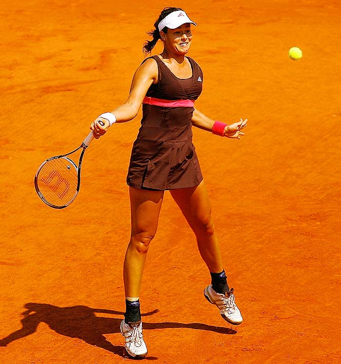 Playing in her first Grand Slam final, Serbian Ana Ivanovic won the first game of the match, breaking Justin Henin's serve.
