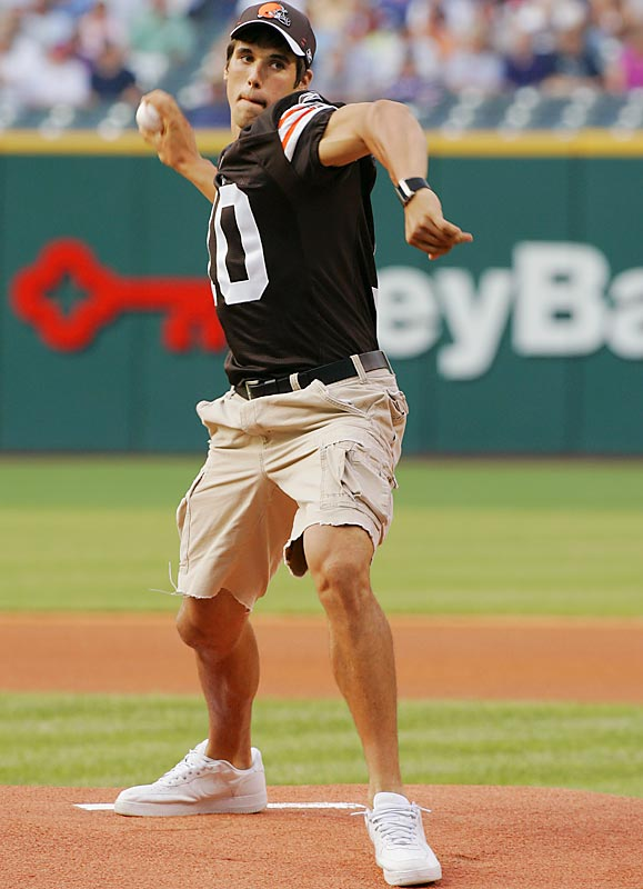 We can appreciate Brady Quinn, shown here throwing out the first pitch at an Indians game earlier this week, wanting to become a part of Cleveland, but we say the jersey AND hat is too much.