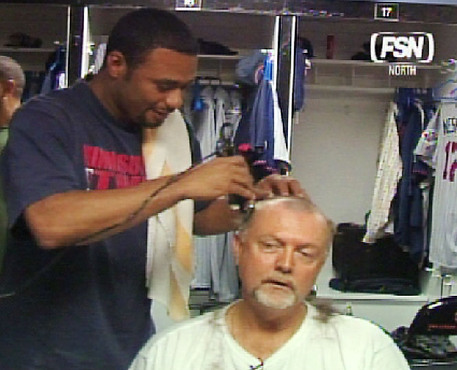 Twins TV analyst Bert Blyleven said that Johan Santana could shave his head if he pitched a complete game shutout this season. Santana made good on the bet Wednesday after pitching a complete game four-hit, 9-0 shutout of the Mets on Tuesday.
