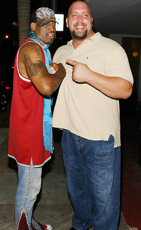 "Dennis Rodman and former WWE wrestler ""The Big Show"" attended a birthday party for a friend earlier this week. Quite frankly, we're disappointed in Rodman's toned-down outfit."