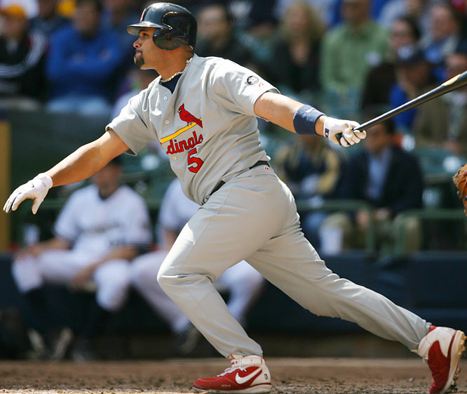 Since his Rookie of the Year season in 2001, Pujols has been one of the premier offensive players in the game, collecting at least 30 home runs and 100 RBIs each season as well as three Silver Sluggers and the 2005 NL MVP.