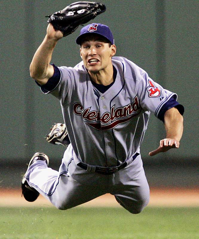 Indians centerfielder Grady Sizemore makes a diving catch of a fly ball by the Red Sox' Wily Mo Peña in the fourth inning of a May 28 game at Fenway Park. Boston won 4-2.
