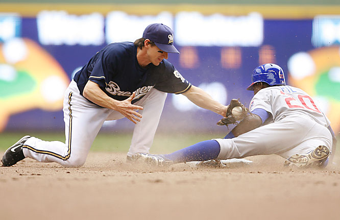 The Cubs' Felix Pie steals second ahead of the tag by the Brewers' Craig Counsell in the top of the ninth June 6 at Miller Park.  Pie went 3-for-5, scoring three runs and knocking in three with a homer in the second inning.