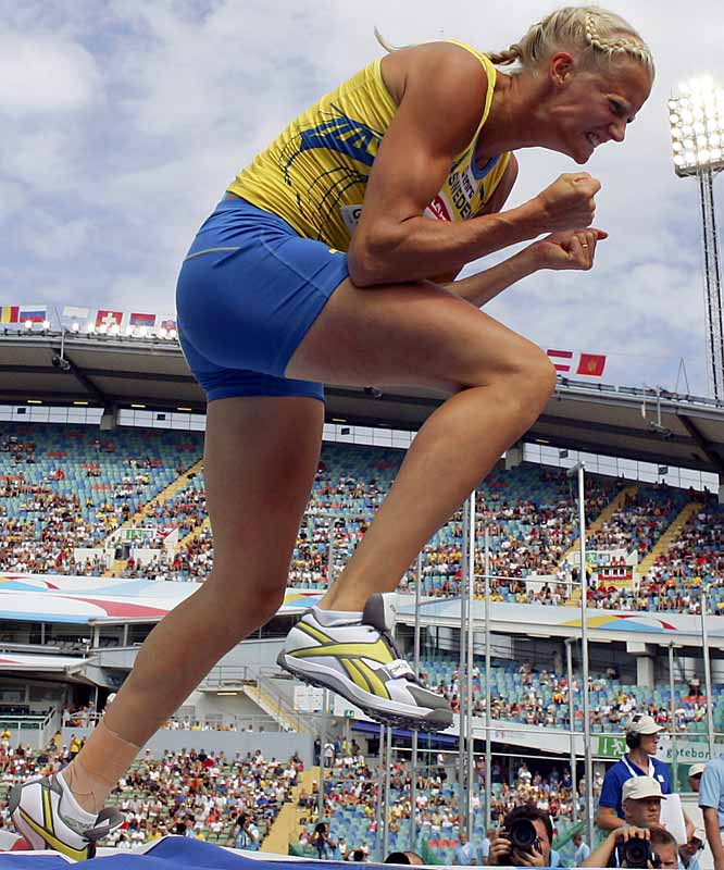 Kluft is among the most animated athletes in track and field, forever yelling at herself after each event, slapping her face before jumps, practically hyperventilating before throws. Not convinced? May we add that the world's best athlete is a six-foot-tall Swedish blonde.