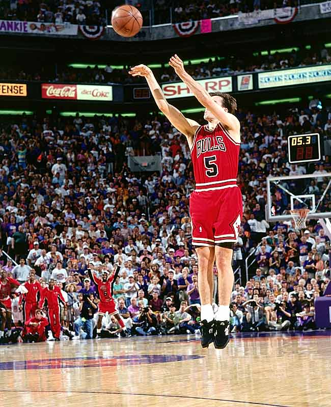 Paxson's game-winning three-pointer in Phoenix gave the Bulls their third consecutive championship.