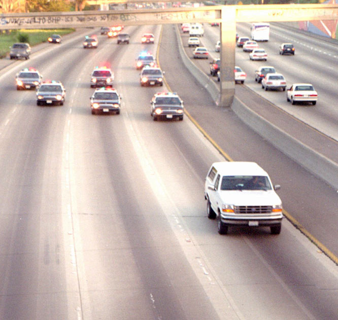 Hakeem Olajuwon and Patrick Ewing toiled in the NBA for 19 combined seasons before reaching these Finals. They were upstaged during Game 3, however, when NBC preempted Rockets-Knicks coverage to air police chasing O.J. Simpson down a Southern California freeway.