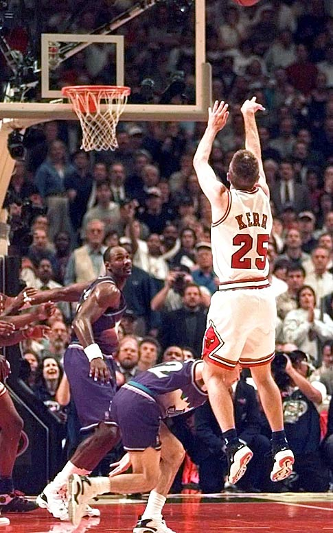 Four years after another sharpshooter (John Paxson) provided the Finals-winning jump shot for the Bulls in a Game 6 (at Phoenix), Kerr did the same with a mid-range J against the Jazz in Chicago.